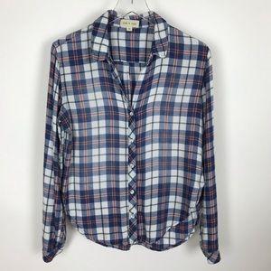 Cloth & Stone Plaid Flannel Button Up Shirt Medium